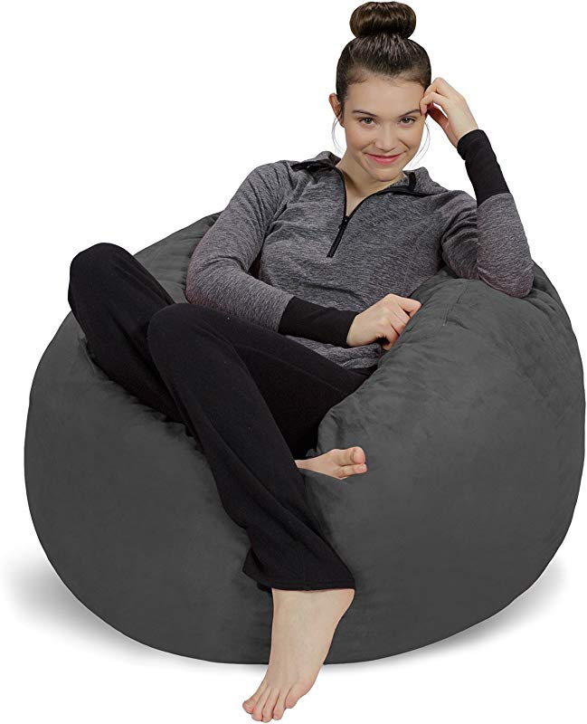 Sofa Sack Plush Ultra Soft Bean Bag Chair Memory Foam Bean Bag Chair With Microsuede Cover Stuffed Foam Filled Furniture And Accessories For Dorm Room Charcoal 3