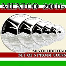 2016 Mexico - Set of 5 Libertad Silver Proof Coins in Mint Capsules as Issued by Banco de Mexico including 1, 1/2, 1/4, 1/10 & 1/20 oz coins.