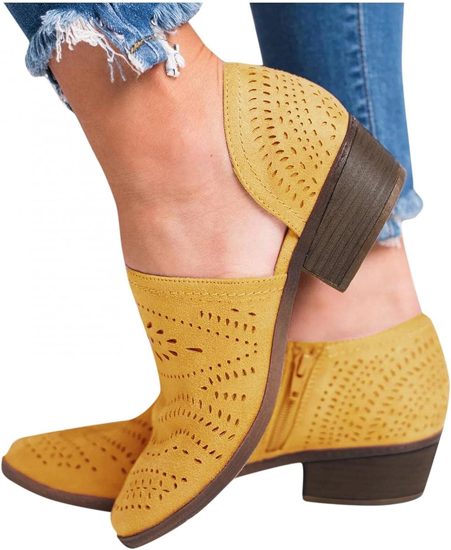 Zieglen Boots for Women, Womens Boots with Retro Zipper Flat Short Booties Platform Boots Western Boots Womens Winter Boots