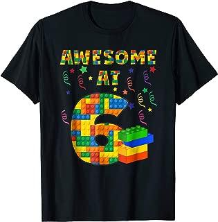 Birthday Shirt For Kids 6 Building Blocks Bricks Theme Party