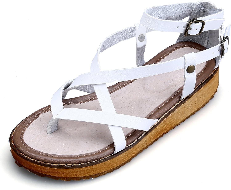 Smilun Lady's Flip Flops Thongs Sandal Roman Sandal shoes Cross Strappy Gladiator Wedge Sandals