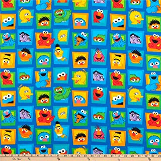 EXCLUSIVE Sesame Street Digital Character Faces, Blue, Fabric by the Yard
