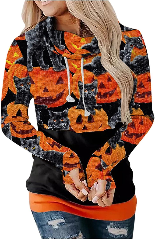 UOCUFY Halloween Hoodies for Women, Womens Funny Pumpkin Ghost Print Sweatshirts Long Sleeve Drawstring Hoodie Tops