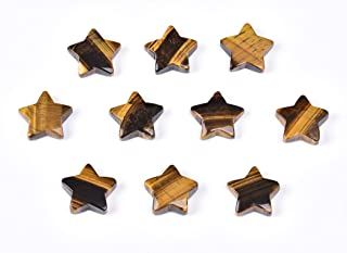 10 Pcs Healing Stones Set Natural Tiger Eye Stones Five-Pointed Star Rock Collection