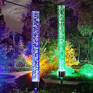 CGN Garden Solar Lights Outdoor Solar Acrylic Bubble RGB Color Changing Solar Powered for Garden Patio Backyard Pathway Decoration (2PCS)