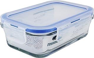 Mondex 350ml Rectangular Glass Food Storage Container with Blue Lid, CMN0094