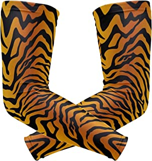 Arm Sleeves with Tiger Stripe Print, UV Cooling Sleeves Arm Cover Sun-Protection for Men Women (1 Pair)