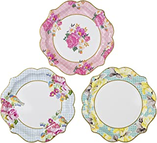 Talking Tables Truly Scrumptious Tea Party Vintage Floral Paper Plates Pack of 12, Dia 22cm, 8.5