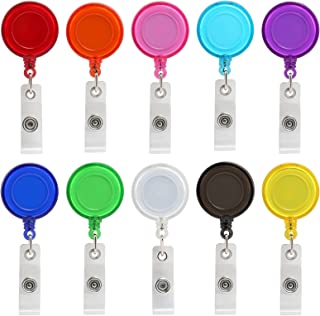 ljdeals Retractable Badge Holder ID Badge Reel Clip On Card Holders, Assorted Colors, Pack of 10