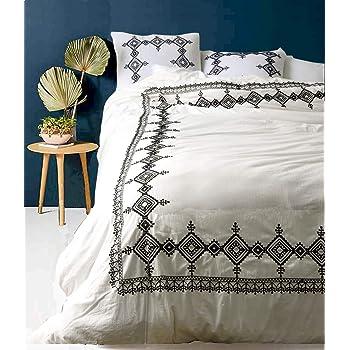 Flber White Duvet Cover Geo Embroidered Comforter Modern Bedding,Full Queen, 86inx90in
