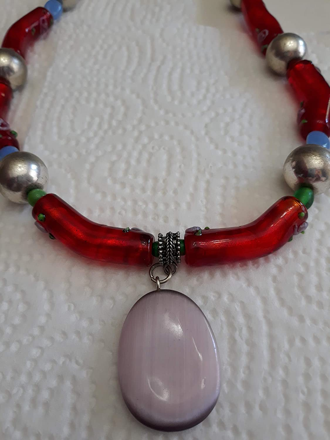 Red Art Soldering Glass necklace with 22-26