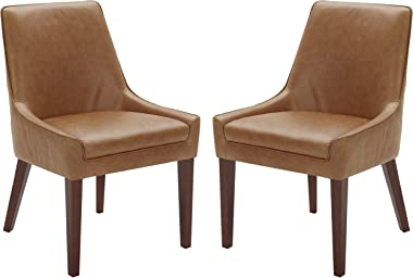 """Amazon Brand – Rivet Contemporary Welt-Trimmed Dining Chair, 35""""H, Cognac, Set of 2"""