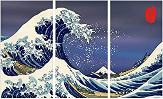 HOMIEVAR 3 Panel Canvas Wall Art for Home Decor The Great Wave Off Kanagawa Poster Painting Decoration Pictures Print on Canvas, No Frame - 16
