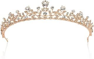 SWEETV Crystal Wedding Tiara for Bride - Princess Tiara Headband Pageant Crown, Bridal Hair Jewelry for Women and Girls, Rose Gold