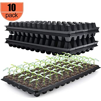 IUMÉ 10 Pack Seed Starter Kit 72 Cell Seed Tray Gardening Germination Tray - Plug Tray Starting Trays Mini Propagator Plant Grow Kit for Seedling Germination Enhance Aeration