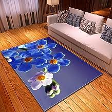 LHGBGBLN 3D Printing Carpet Blue Flower Bedroom Living Room Anti-Slip Mat Corridor Floor Mat Door Mat Flower Carpet Home D...