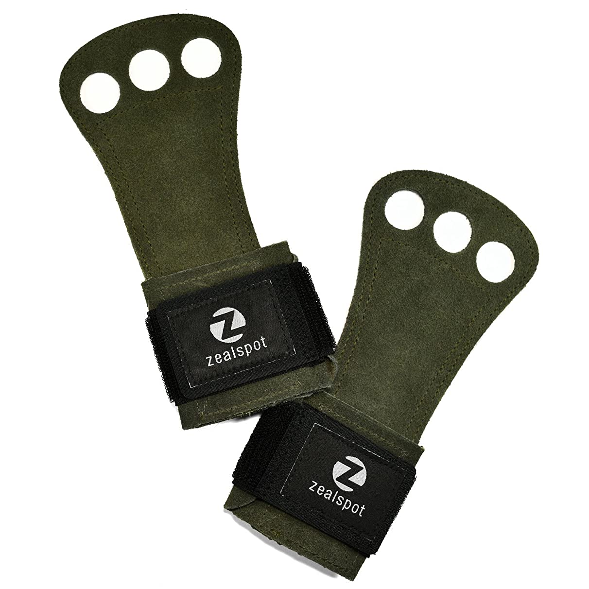 Z ZEALSPOT 3 Holes Leather Gymnastics Hand Grips for pullups, Weight Lifting, Powerlifting,Chin ups, Exercise, Kettlebell and Barbells