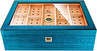 Humidors Cigarr, cederträ genomskinlig stor kapacitet förvaringsbox, cigarr förvaringsbox, med termometer och luftfuktare,...