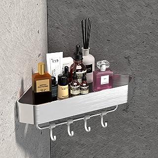 LIVIKEY Estantería de ducha sin taladrar para baño de aluminio grueso acabado mate 10 kg de carga 1 unidad de plata