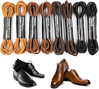 Mobey 8 Pairs Dress Shoes Laces, Waxed Round Shoe Lace Strings for Dress Shoes,Leather Shoes