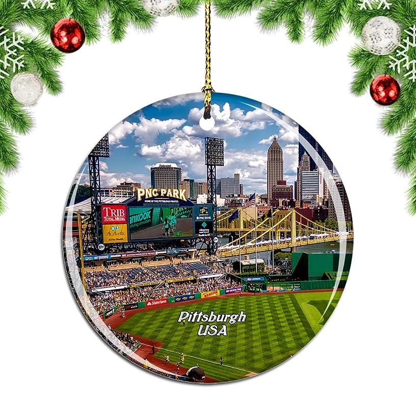 迷彩検出安全なWeekinoアメリカアメリカPNC公園ピッツバーグクリスマスデコレーションオーナメントクリスマスツリーペンダントデコレーションシティトラベルお土産コレクション磁器2.85インチ