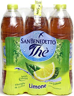 San Benedetto Lemon Iced Tea - (Imported from Italy) Big 1.5 Liter/ 50.55 Oz Plastic Bottle (Pack Of 6)