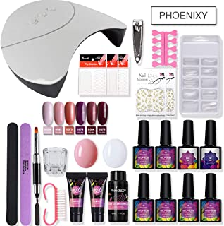 PHOENIXY 36W LED Lamp 2 Color Nail Extension Gel Kit 6 Colors Gel Nail Polish Quick Building For Nail Extensions Hard Jelly Polygel Manicure Set (5)