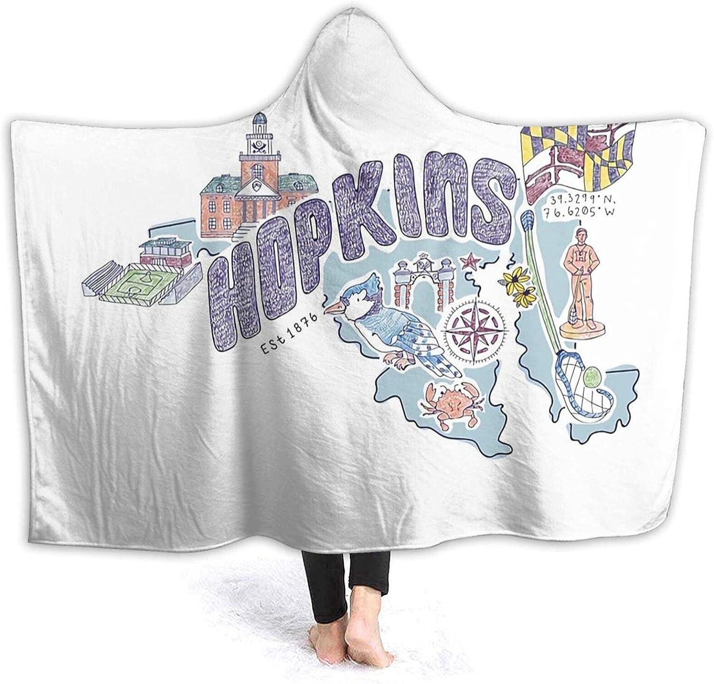 Hooded Blanket Memphis Mall 3D Johns Max 67% OFF Hopkins Icons Soft Super Fleece B Sherpa