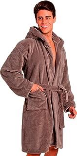 Men's Robe with Hood - Soft Fleece – Kimono Hotel Spa Bathrobe - Adults Men Boys