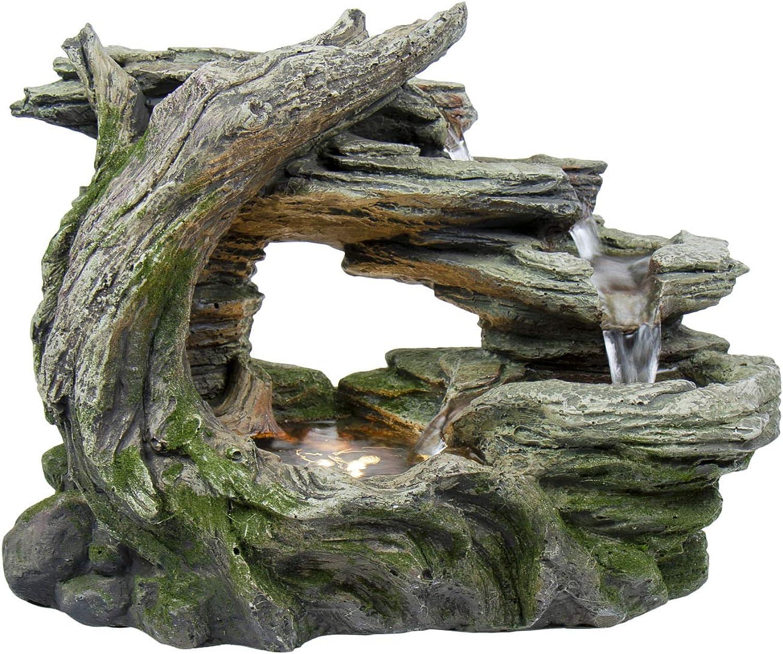 Home, Pets & Garden Wasserbrunnen aus Polyresin, Stonewood, Zimmerbrunnen mit LED-Beleuchtung, Dekoration, Luftbefeuchter,ca. 34,5x18,5x26,5cm
