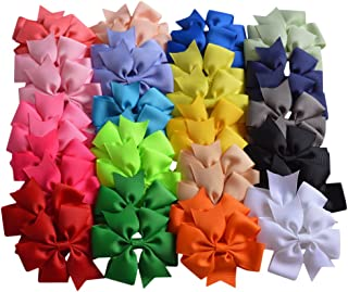 Bzybel Boutique 40pcs 3in Baby Girls Pinwheel Hair Bow Clips Grosgrain Ribbon Barrettes Headbands Party Hair Clips Hair Accessories for Girls Teens Kids