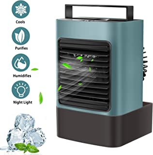 OVPPH Portable Air Conditioner Fan, Personal Air Cooler Fan Mini Evaporative Cooler Desk Table Fan, Quiet Air Circulator Humidifier Misting Fan with 3 Speeds or Home Bedroom Office (Army Green)