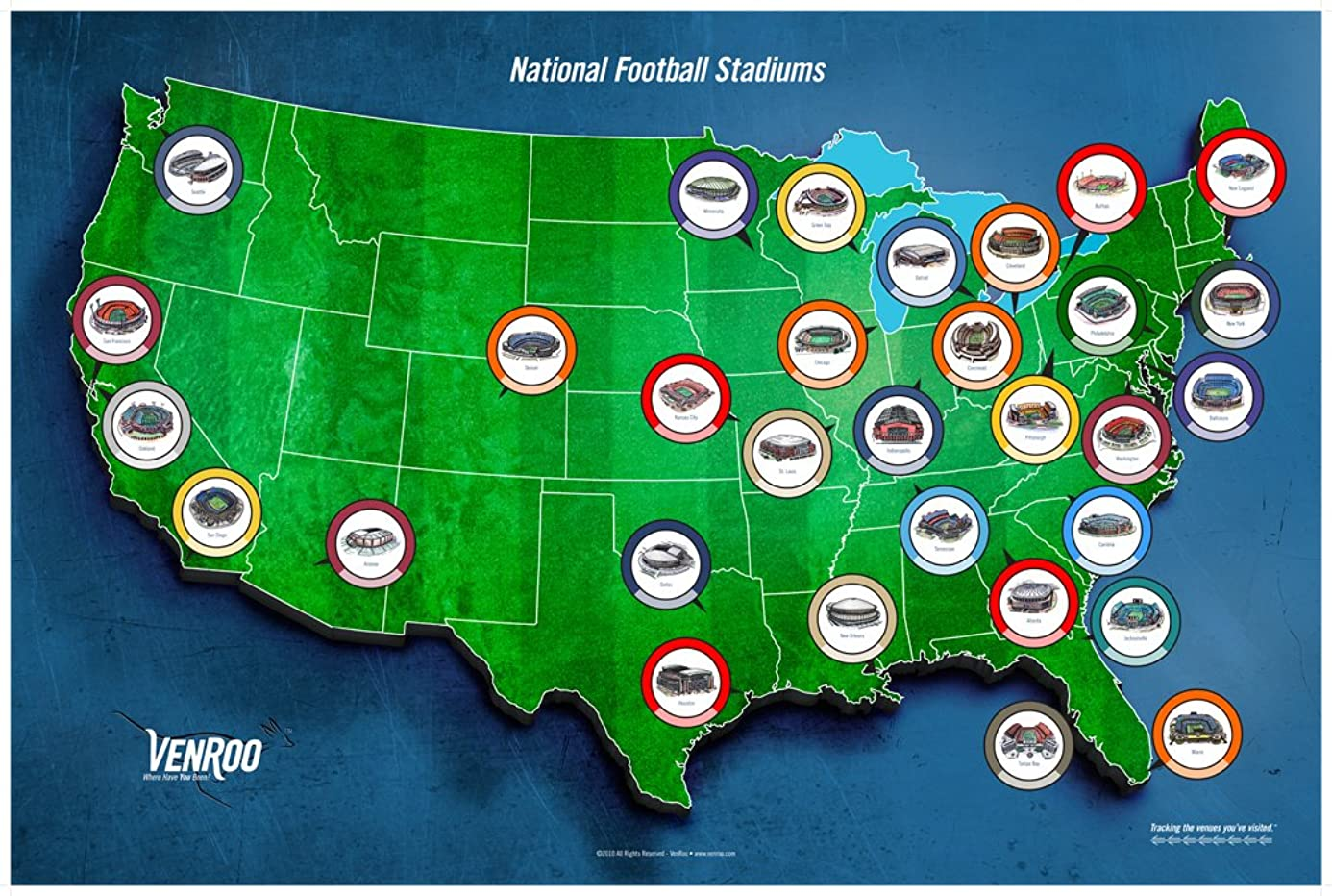 Pro Football Stadium Map Poster - Great Gift for Your Football Fan