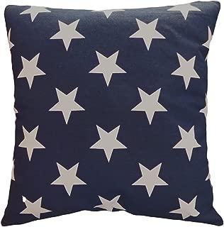 Leaveland Printed White Navy Star 18x18 Inch Cotton Linen Square Throw Pillow Case Decorative Durable Cushion Slipcover Home Decor Sofa Standard Size Accent Pillowcase Encasement