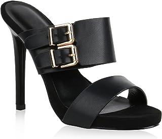 Stiefelparadies Damen Sandaletten Pantoletten mit Pfennigabsatz Schnallen Flandell