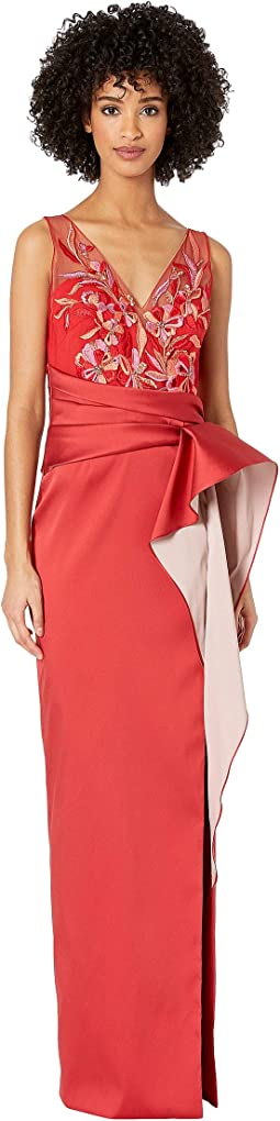Sleeveless Two-Tone Stretch Mikado Column Gown with Asymmetrical Drape and Beaded Bodice