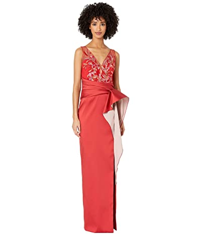 Marchesa Notte Sleeveless Two-Tone Stretch Mikado Column Gown with Asymmetrical Drape and Beaded Bodice (Red) Women