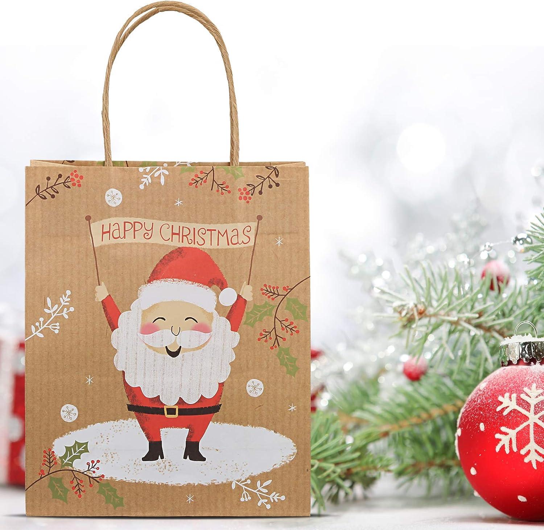 GWHOLE 12 St/ück Geschenktaschen Weihnachten Geschenkt/üten aus Papier mit Henkel f/ür Mitgebsel S/ü/ßigkeiten