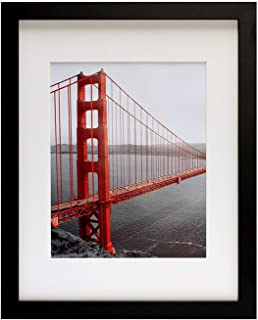 Frametory, 11x14 Contemporary Black Picture Frame - Wide Molding - Wall Mounting Ready