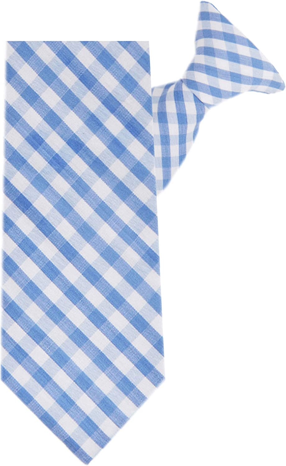 Jacob Alexander Boys' 14 inch Clip-On Gingham Checkered Pattern Neck Tie