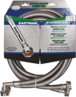 Eastman 43491 41065 Stainless Steel Washing Machine Hose with Elbow, 5 Ft Pair, Silver
