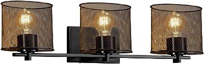 Justice Design Group Lighting MSH-8443-30-MBLK Wire Mesh Era 3-Light Bath Bar, Matte Black
