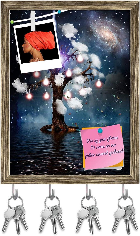 Artzfolio High Resolution Eternal Tree Key Holder Hooks   Notice Pin Board   Antique golden Frame 12 X 16Inch