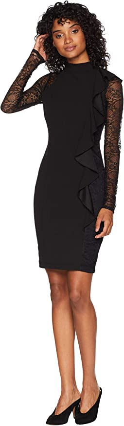 Bodycon w/ Ruffle Detail & Lace Dress