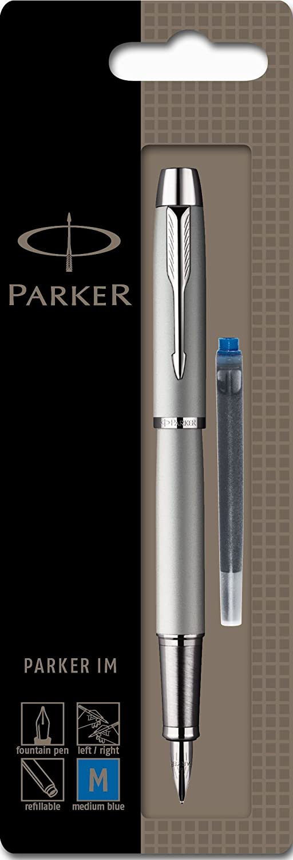 Parker IM Black Chrome Trim Medium Nib Fountain Pen Blister Pack