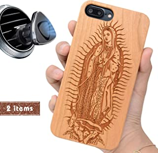 iProductsUS Religious Phone case Compatible with iPhone 8, 7, 6/6S and Magnetic Mount, Wood Cases Engrave Our Lady Virgin Mary, Built-in Metal Plate, TPU Shockproof Protective Cover (4.7 inch)