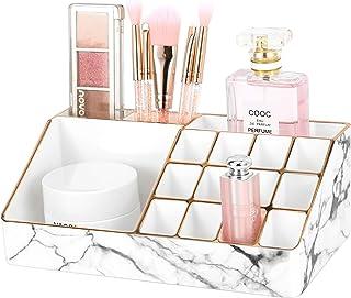 Lewondr Organisateur de Maquillage, Organisateur Cosmétique avec Bords Dorés 12 Compartiments pour Rouge à Lèvres, Produit...