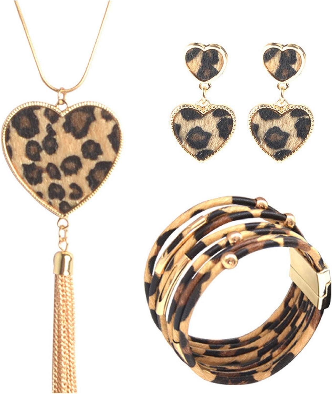 Evangelia.YM Womens Bracelets Earrings Necklace Jewelry Set - Fashion Magnetic Multilayer Leopard Print Leather Bracelet Pendant Earrings Tassel Necklace Ladies Jewelry Gift (Brown)