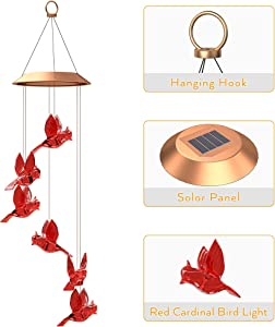rodasue Cardinal Solar Wind Chimes Outdoor Clearance,Led Color Changing Solar Wind Chimes for Outside,Mobile Hanging Cardinal Solar Light,Waterproof Cardinal Gifts for Patio,Garden,Yard