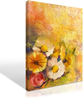 Mon Art Yellow Flower Canvas Print Wall Art FLowes Oil Painting Still Life Picture for Bedroom Living Room Retro Vintage Modern Decoration Impressionism Artwork Home Decor Framed,12x16 inch 1Pcs